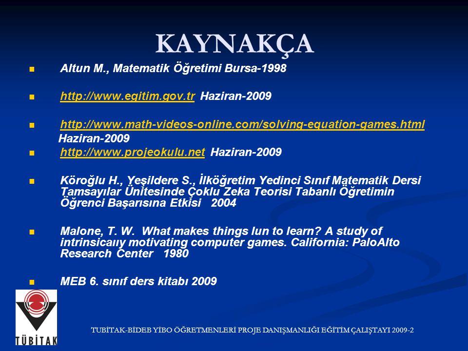 KAYNAKÇA Altun M., Matematik Öğretimi Bursa-1998 http://www.egitim.gov.tr Haziran-2009 http://www.egitim.gov.tr http://www.math-videos-online.com/solving-equation-games.html Haziran-2009 http://www.projeokulu.net Haziran-2009 http://www.projeokulu.net Köroğlu H., Yeşildere S., İlköğretim Yedinci Sınıf Matematik Dersi Tamsayılar Ünitesinde Çoklu Zeka Teorisi Tabanlı Öğretimin Öğrenci Başarısına Etkisi 2004 Malone, T.