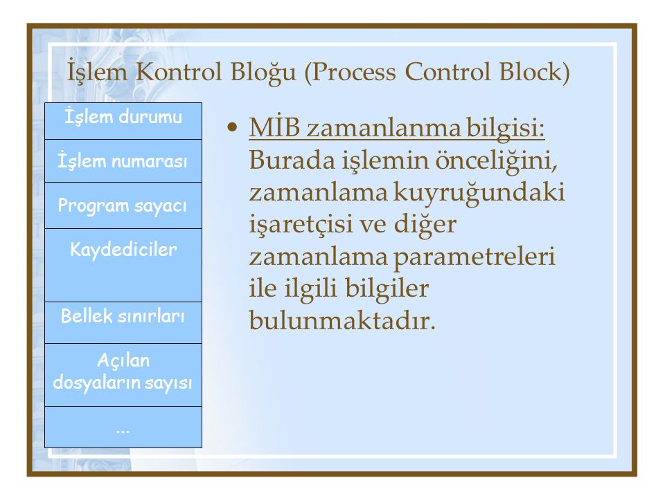 İşlem Kontrol Bloğu (Process Control Block) MİB zamanlanma bilgisi: Burada işlemin önceliğini, zamanlama kuyruğundaki işaretçisi ve diğer zamanlama parametreleri ile ilgili bilgiler bulunmaktadır.