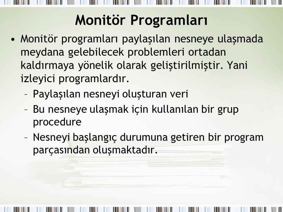 Monitör Programları Monitör programları paylaşılan nesneye ulaşmada meydana gelebilecek problemleri ortadan kaldırmaya yönelik olarak geliştirilmiştir.