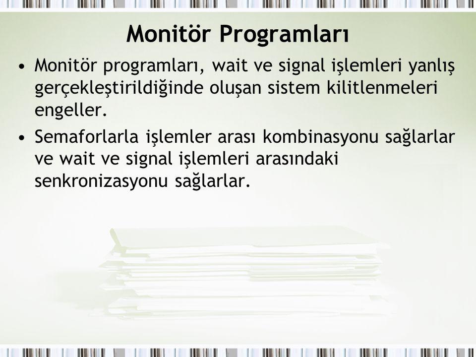 Monitör Programları Monitör programları, wait ve signal işlemleri yanlış gerçekleştirildiğinde oluşan sistem kilitlenmeleri engeller. Semaforlarla işl
