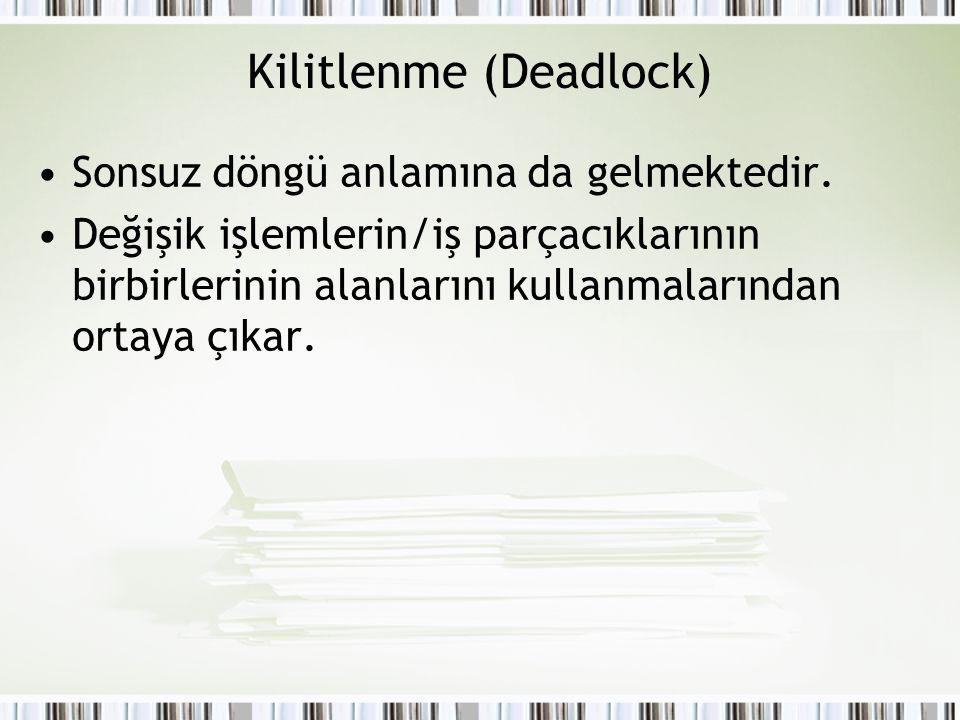 Kilitlenme (Deadlock) Sonsuz döngü anlamına da gelmektedir. Değişik işlemlerin/iş parçacıklarının birbirlerinin alanlarını kullanmalarından ortaya çık