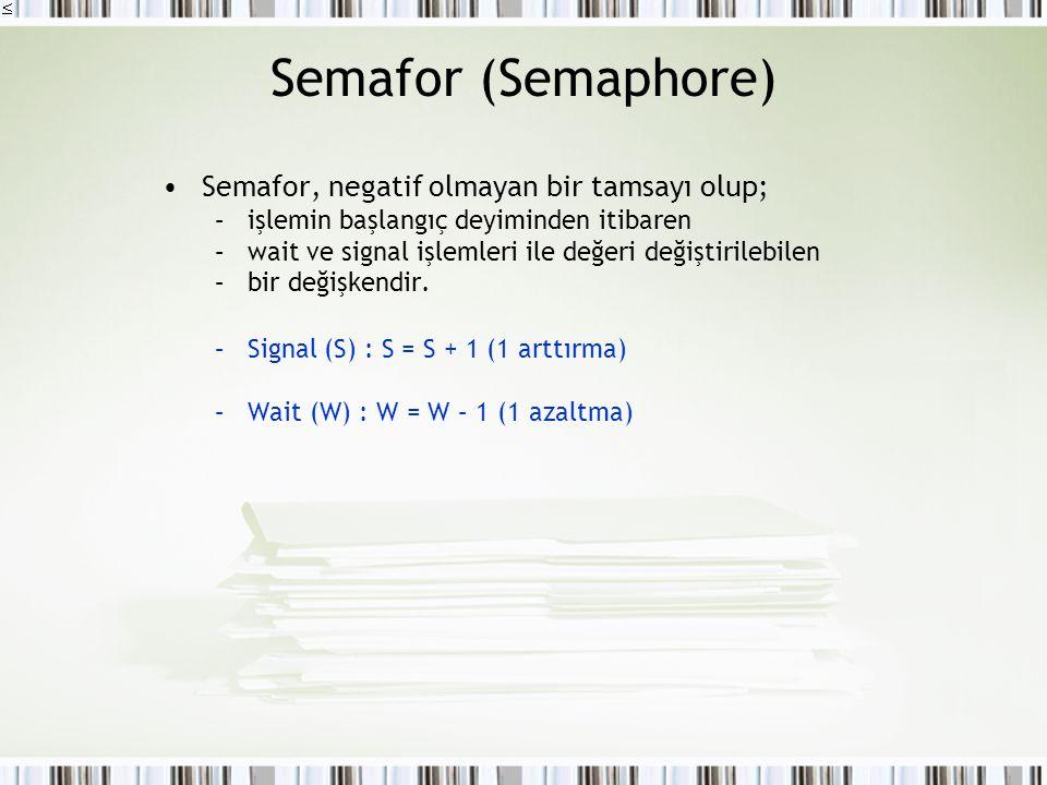 Semafor (Semaphore) Semafor, negatif olmayan bir tamsayı olup; –işlemin başlangıç deyiminden itibaren –wait ve signal işlemleri ile değeri değiştirile
