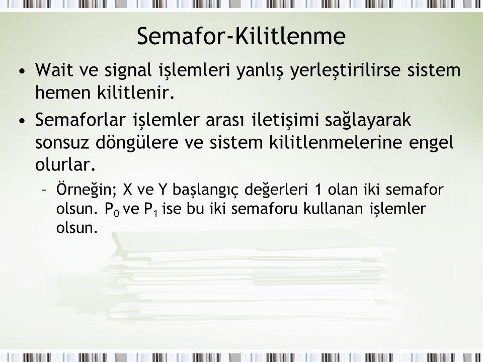 Semafor-Kilitlenme Wait ve signal işlemleri yanlış yerleştirilirse sistem hemen kilitlenir. Semaforlar işlemler arası iletişimi sağlayarak sonsuz döng