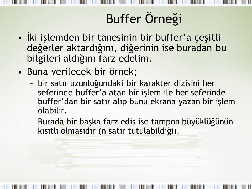 Buffer Örneği İki işlemden bir tanesinin bir buffer'a çeşitli değerler aktardığını, diğerinin ise buradan bu bilgileri aldığını farz edelim. Buna veri