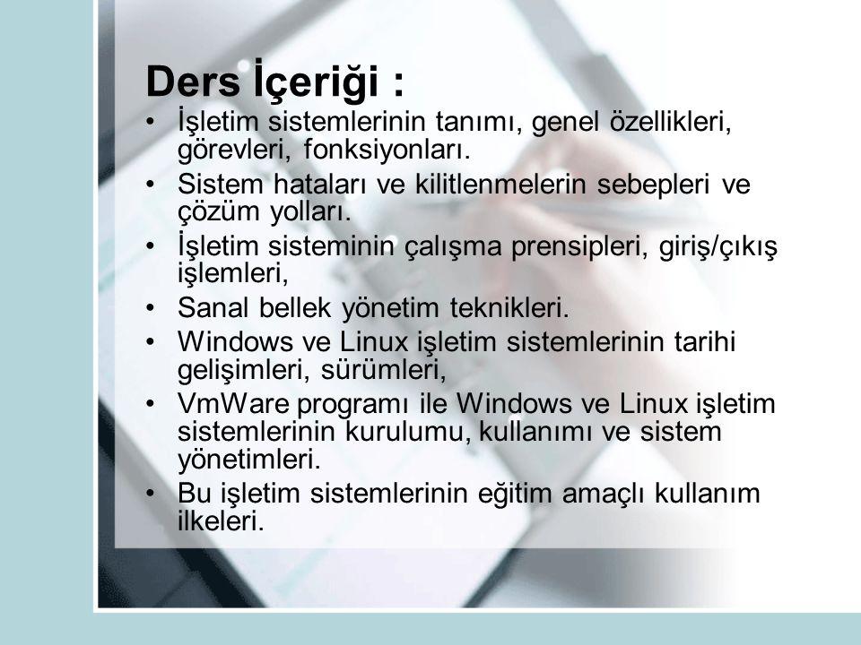 Ders İçeriği : İşletim sistemlerinin tanımı, genel özellikleri, görevleri, fonksiyonları. Sistem hataları ve kilitlenmelerin sebepleri ve çözüm yollar