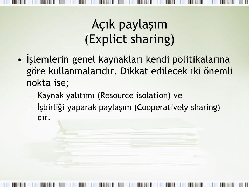 Açık paylaşım (Explict sharing) İşlemlerin genel kaynakları kendi politikalarına göre kullanmalarıdır. Dikkat edilecek iki önemli nokta ise; –Kaynak y