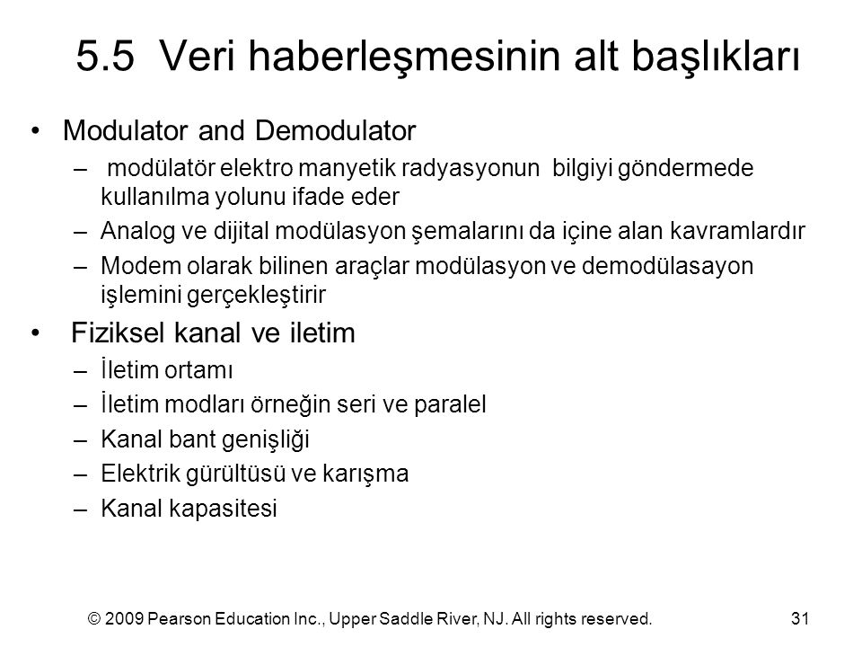 © 2009 Pearson Education Inc., Upper Saddle River, NJ. All rights reserved.31 5.5 Veri haberleşmesinin alt başlıkları Modulator and Demodulator – modü