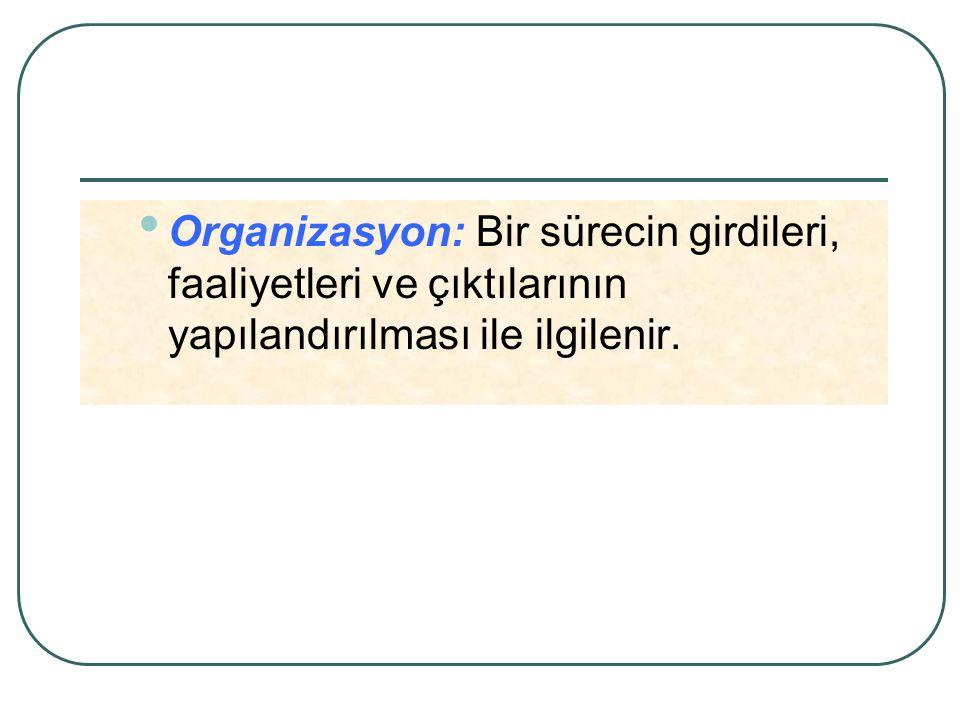 Organizasyon: Bir sürecin girdileri, faaliyetleri ve çıktılarının yapılandırılması ile ilgilenir.