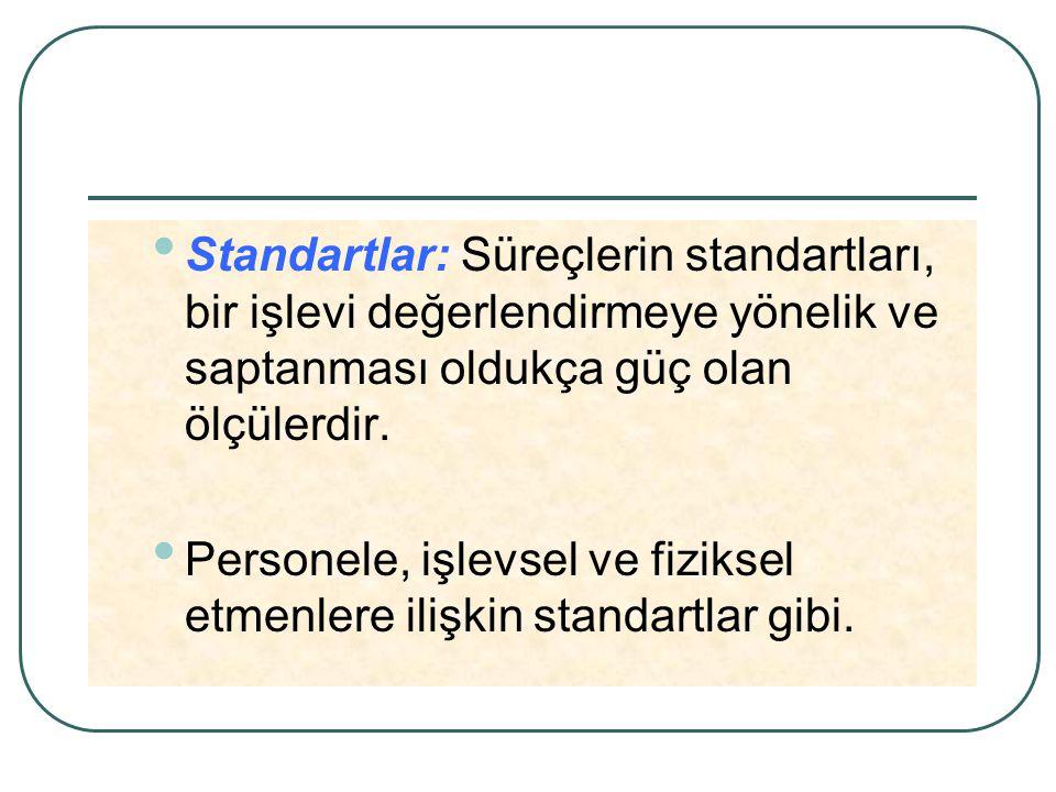 Standartlar: Süreçlerin standartları, bir işlevi değerlendirmeye yönelik ve saptanması oldukça güç olan ölçülerdir. Personele, işlevsel ve fiziksel et