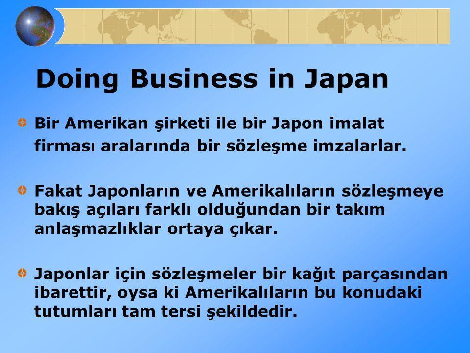 Doing Business in Japan Bir Amerikan şirketi ile bir Japon imalat firması aralarında bir sözleşme imzalarlar. Fakat Japonların ve Amerikalıların sözle