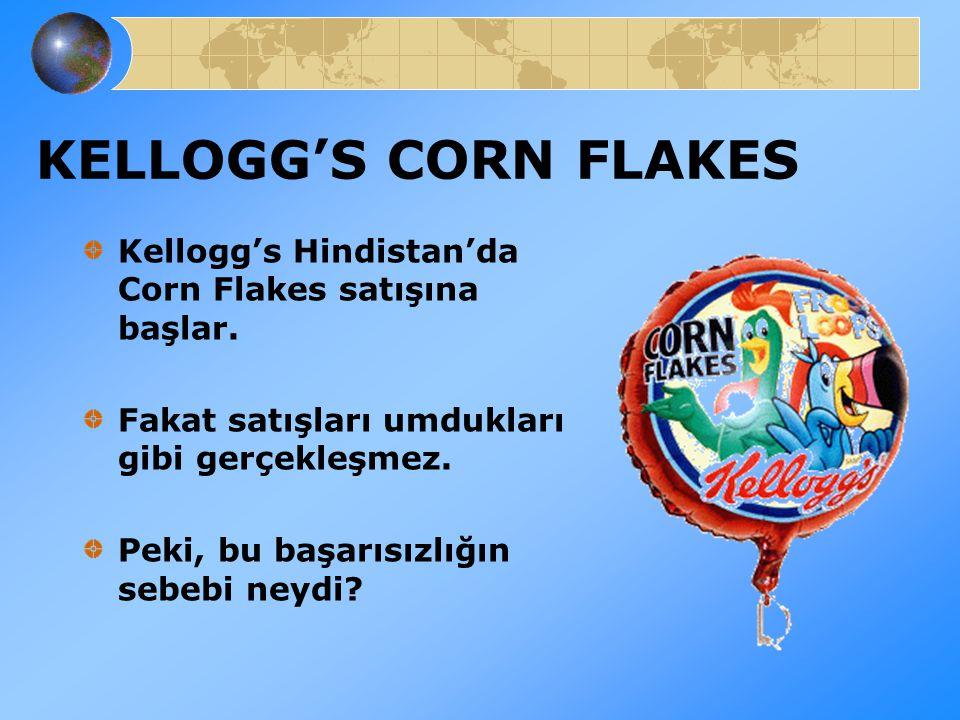 KELLOGG'S CORN FLAKES Kellogg's Hindistan'da Corn Flakes satışına başlar. Fakat satışları umdukları gibi gerçekleşmez. Peki, bu başarısızlığın sebebi