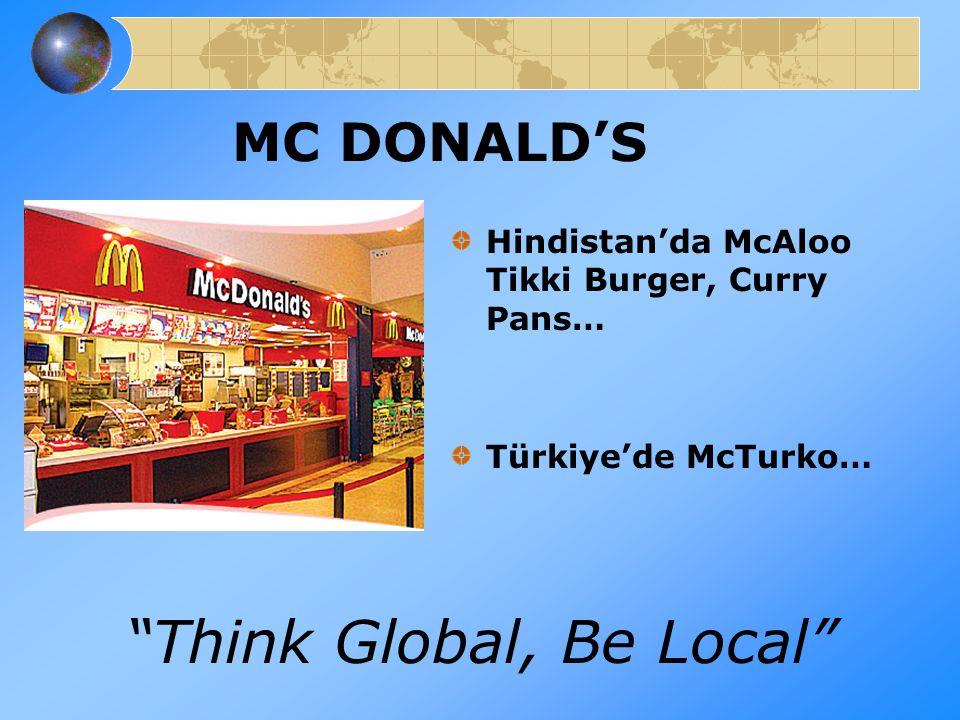 """MC DONALD'S Hindistan'da McAloo Tikki Burger, Curry Pans… Türkiye'de McTurko… """"Think Global, Be Local"""""""