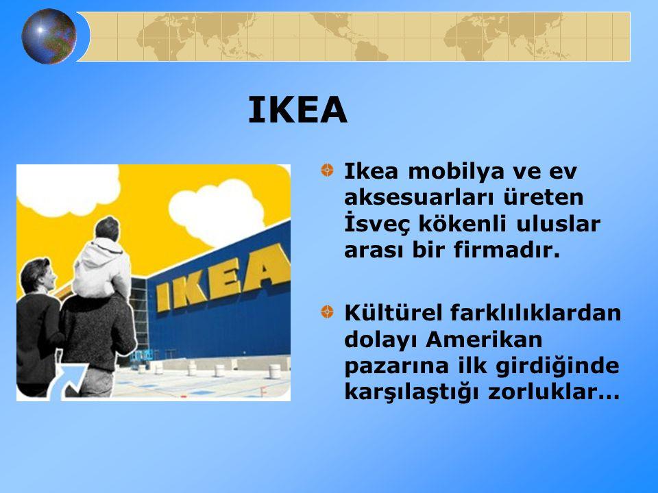 IKEA Ikea mobilya ve ev aksesuarları üreten İsveç kökenli uluslar arası bir firmadır. Kültürel farklılıklardan dolayı Amerikan pazarına ilk girdiğinde