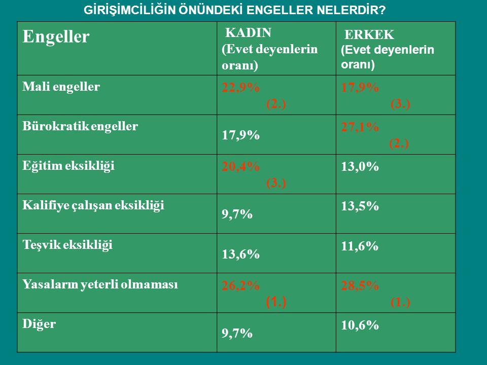 Engeller KADIN (Evet deyenlerin oranı) ERKEK (Evet deyenlerin oranı) Mali engeller 22,9% (2.) 17,9% (3.) Bürokratik engeller 17,9% 27,1% (2.) Eğitim e