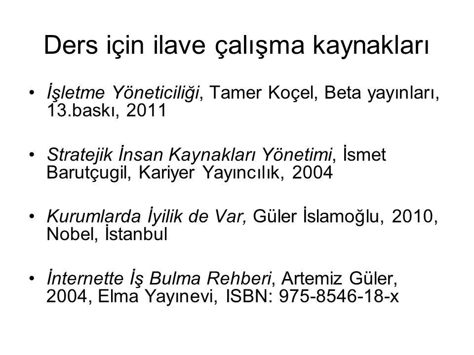Ders için ilave çalışma kaynakları İşletme Yöneticiliği, Tamer Koçel, Beta yayınları, 13.baskı, 2011 Stratejik İnsan Kaynakları Yönetimi, İsmet Barutç