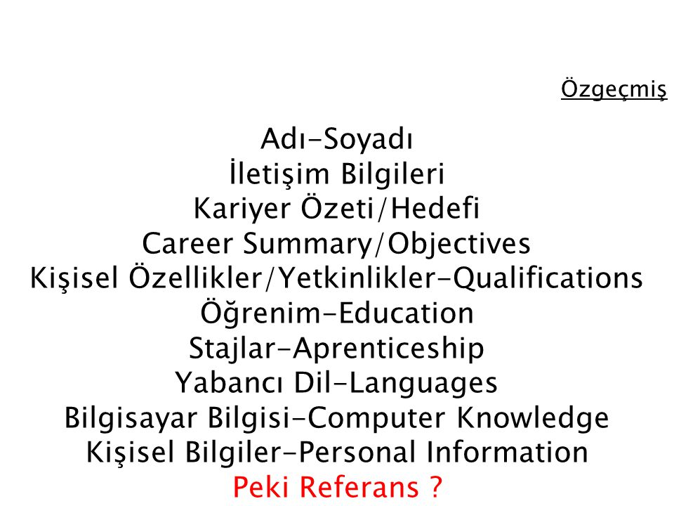 Özgeçmiş Adı-Soyadı İletişim Bilgileri Kariyer Özeti/Hedefi Career Summary/Objectives Kişisel Özellikler/Yetkinlikler-Qualifications Öğrenim-Education
