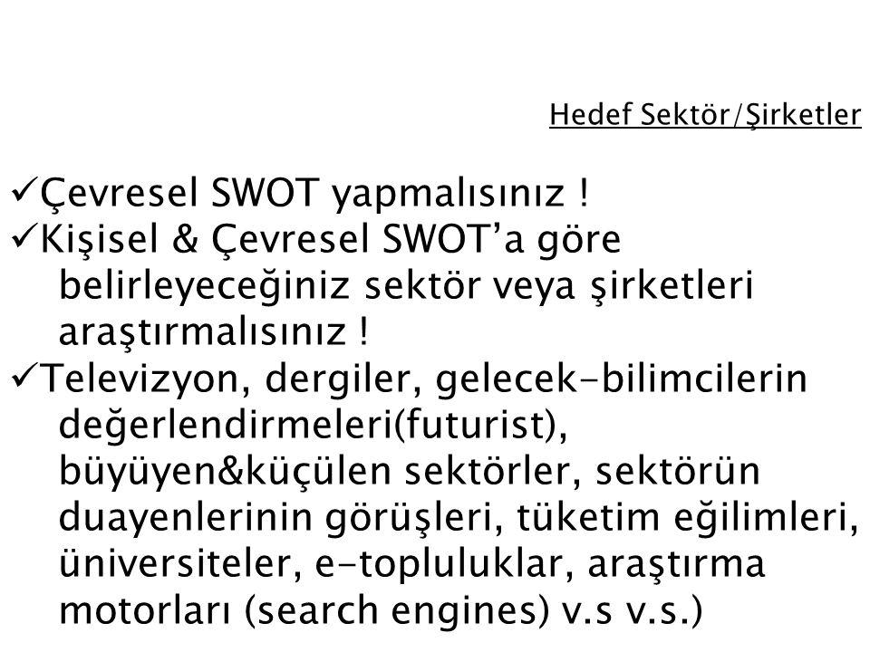 Hedef Sektör/Şirketler Çevresel SWOT yapmalısınız ! Kişisel & Çevresel SWOT'a göre belirleyeceğiniz sektör veya şirketleri araştırmalısınız ! Televizy