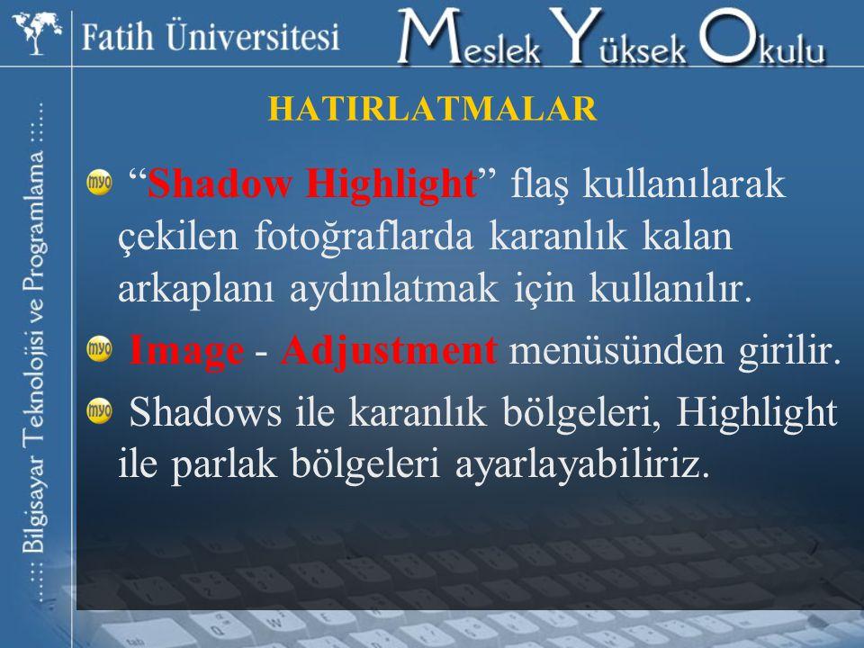 HATIRLATMALAR Shadow Highlight flaş kullanılarak çekilen fotoğraflarda karanlık kalan arkaplanı aydınlatmak için kullanılır.
