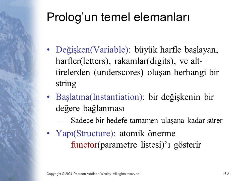 Copyright © 2004 Pearson Addison-Wesley. All rights reserved.16-21 Prolog'un temel elemanları Değişken(Variable): büyük harfle başlayan, harfler(lette