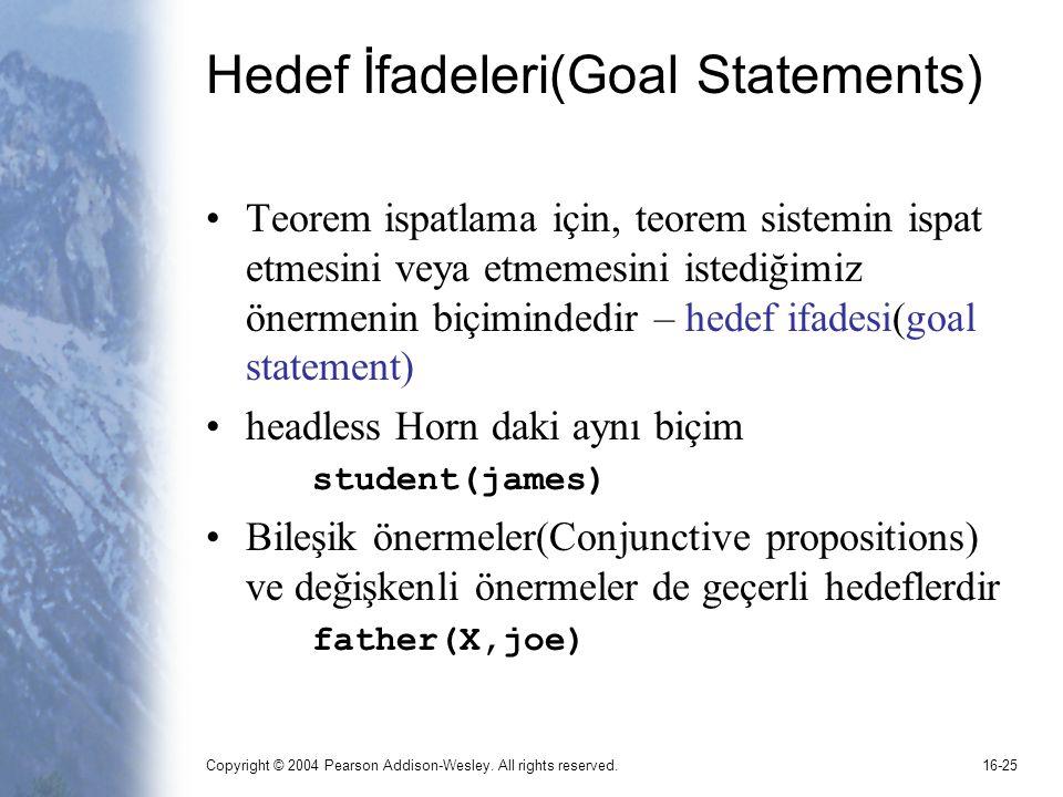 Copyright © 2004 Pearson Addison-Wesley. All rights reserved.16-25 Hedef İfadeleri(Goal Statements) Teorem ispatlama için, teorem sistemin ispat etmes
