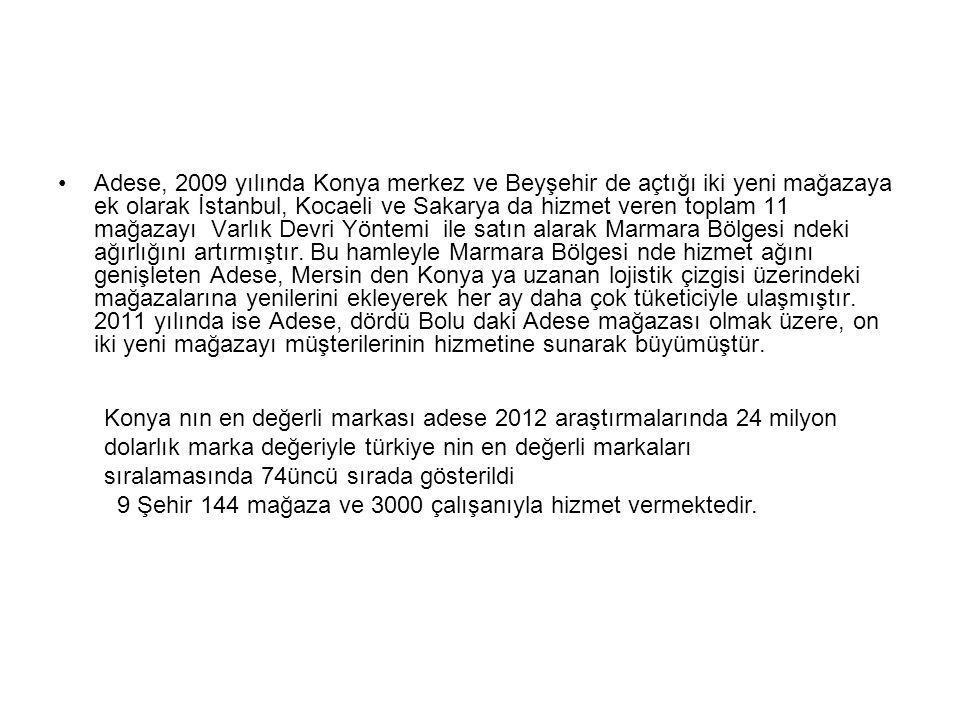 Adese, 2009 yılında Konya merkez ve Beyşehir de açtığı iki yeni mağazaya ek olarak İstanbul, Kocaeli ve Sakarya da hizmet veren toplam 11 mağazayı Var