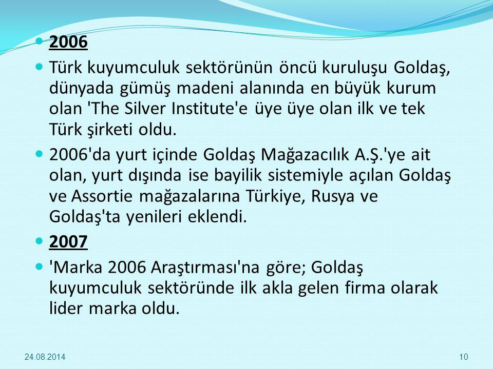 2006 Türk kuyumculuk sektörünün öncü kuruluşu Goldaş, dünyada gümüş madeni alanında en büyük kurum olan 'The Silver Institute'e üye üye olan ilk ve te