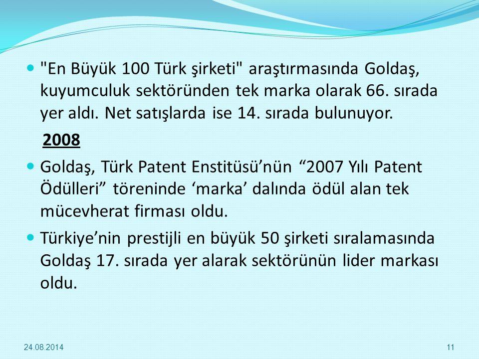 En Büyük 100 Türk şirketi araştırmasında Goldaş, kuyumculuk sektöründen tek marka olarak 66.