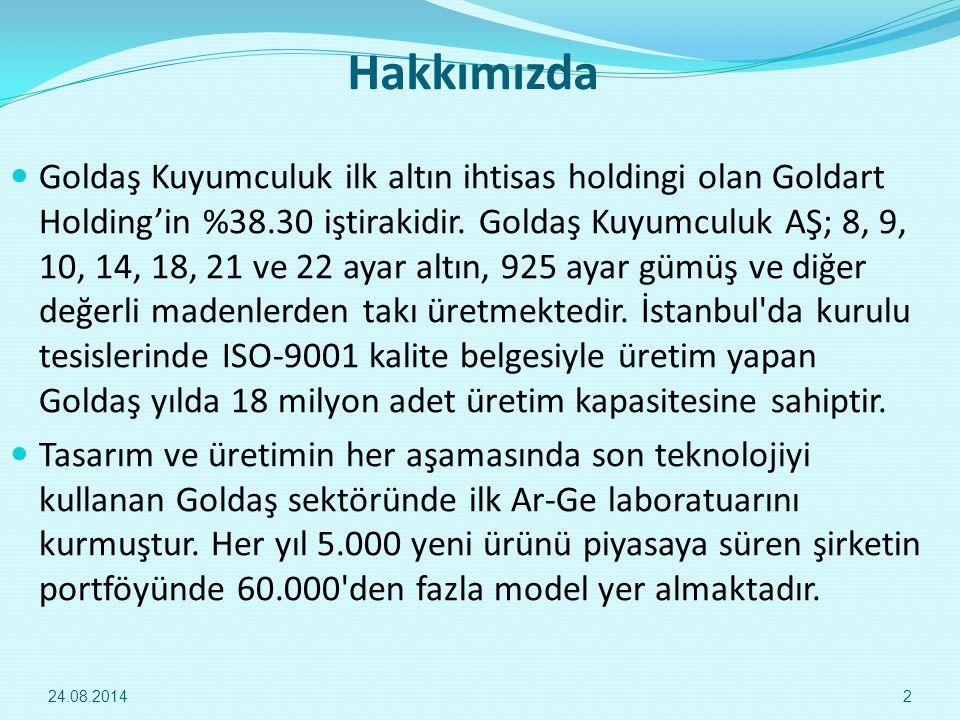 Hakkımızda Goldaş Kuyumculuk ilk altın ihtisas holdingi olan Goldart Holding'in %38.30 iştirakidir. Goldaş Kuyumculuk AŞ; 8, 9, 10, 14, 18, 21 ve 22 a
