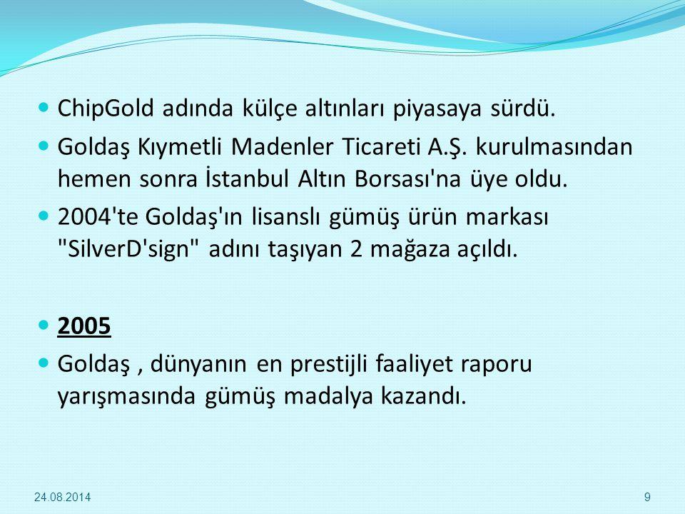 ChipGold adında külçe altınları piyasaya sürdü. Goldaş Kıymetli Madenler Ticareti A.Ş. kurulmasından hemen sonra İstanbul Altın Borsası'na üye oldu. 2