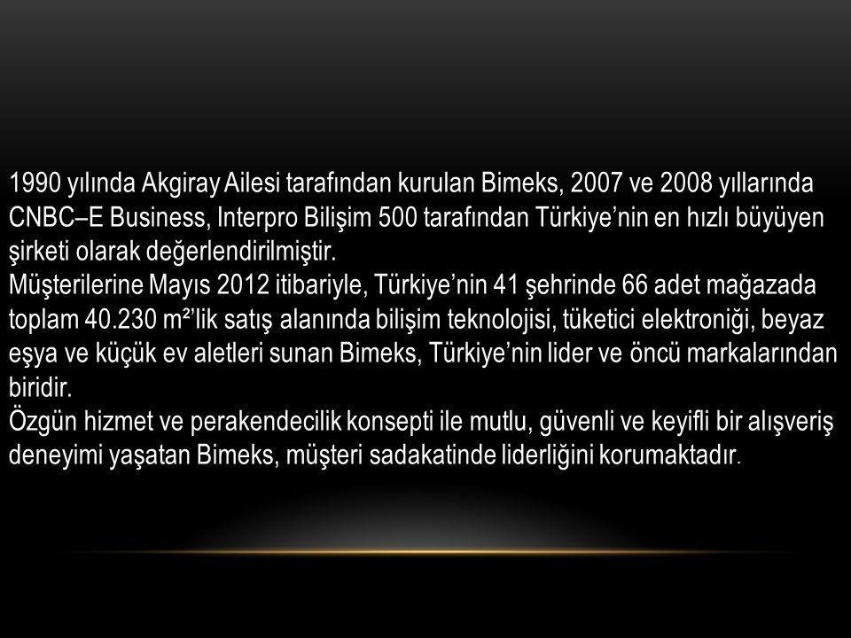 1990 yılında Akgiray Ailesi tarafından kurulan Bimeks, 2007 ve 2008 yıllarında CNBC–E Business, Interpro Bilişim 500 tarafından Türkiye'nin en hızlı b