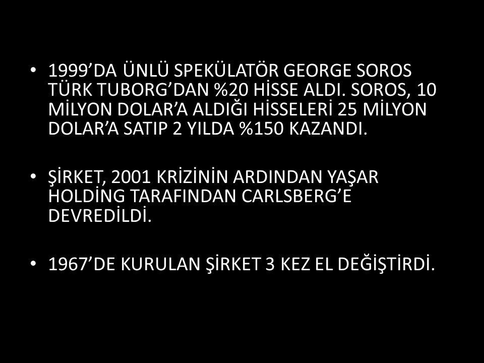 1999'DA ÜNLÜ SPEKÜLATÖR GEORGE SOROS TÜRK TUBORG'DAN %20 HİSSE ALDI.