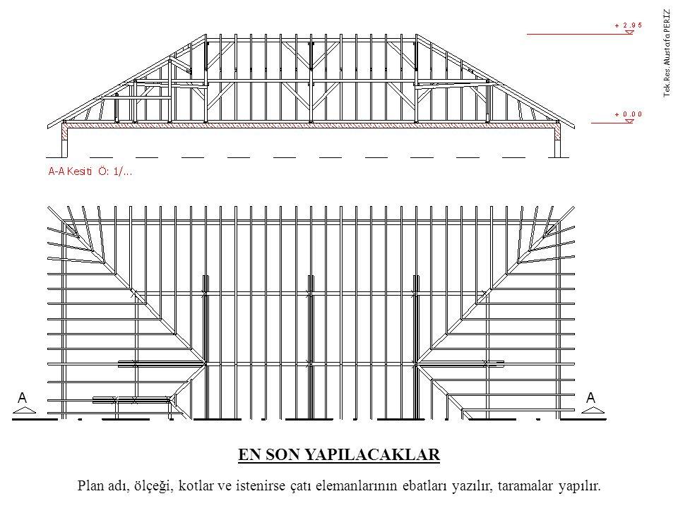EN SON YAPILACAKLAR Plan adı, ölçeği, kotlar ve istenirse çatı elemanlarının ebatları yazılır, taramalar yapılır. Tek.Res. Mustafa PERİZ