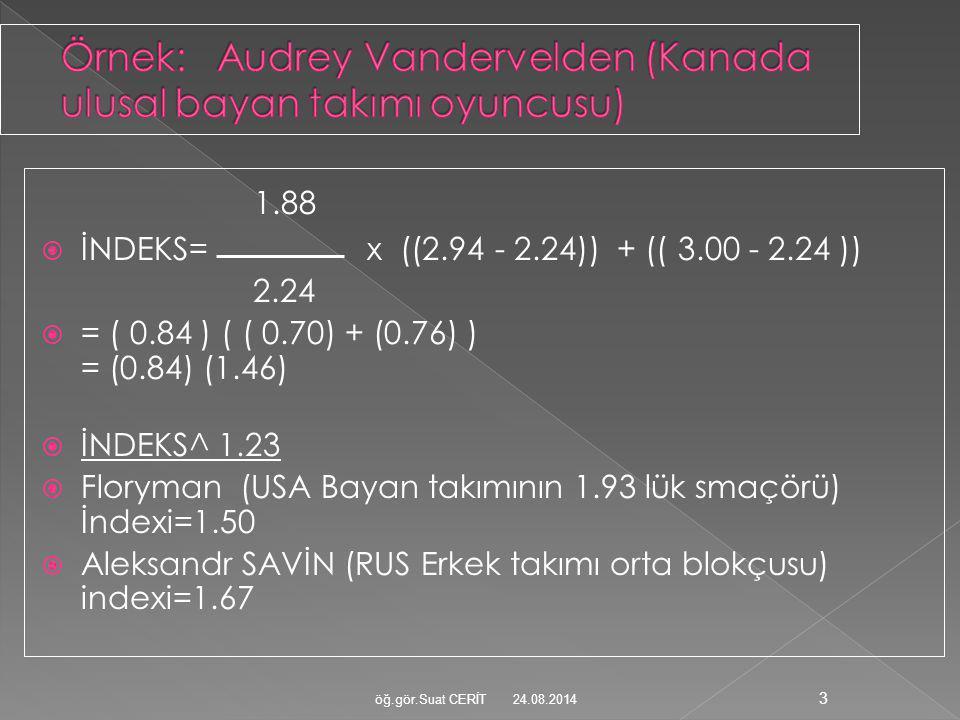 1.88  İNDEKS= x ((2.94 - 2.24)) + (( 3.00 - 2.24 )) 2.24  = ( 0.84 ) ( ( 0.70) + (0.76) ) = (0.84) (1.46)  İNDEKS^ 1.23  Floryman (USA Bayan takım
