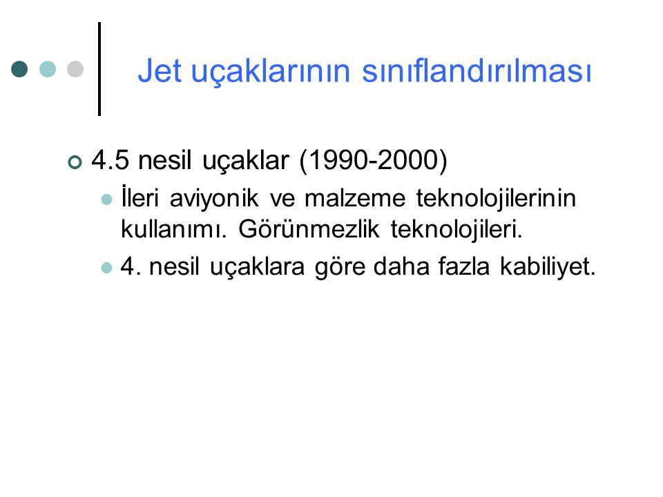 4.5 nesil uçaklar (1990-2000) İleri aviyonik ve malzeme teknolojilerinin kullanımı. Görünmezlik teknolojileri. 4. nesil uçaklara göre daha fazla kabil