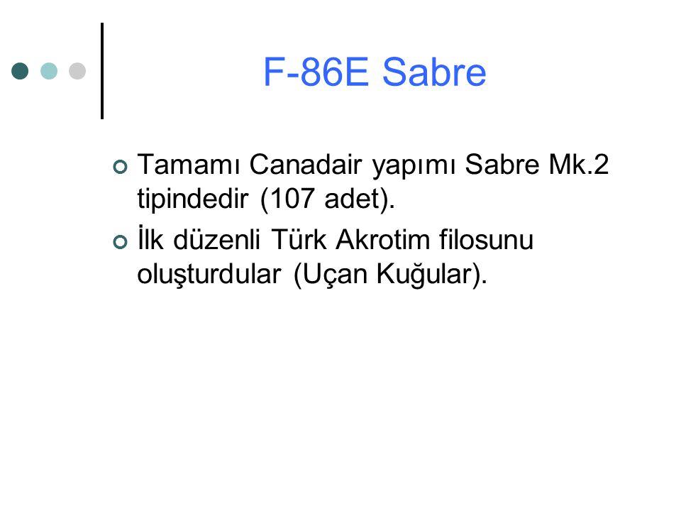 Tamamı Canadair yapımı Sabre Mk.2 tipindedir (107 adet). İlk düzenli Türk Akrotim filosunu oluşturdular (Uçan Kuğular). F-86E Sabre