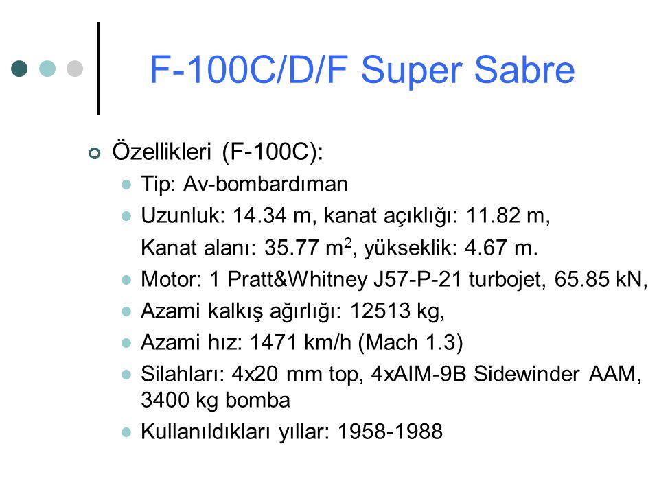 Özellikleri (F-100C): Tip: Av-bombardıman Uzunluk: 14.34 m, kanat açıklığı: 11.82 m, Kanat alanı: 35.77 m 2, yükseklik: 4.67 m. Motor: 1 Pratt&Whitney