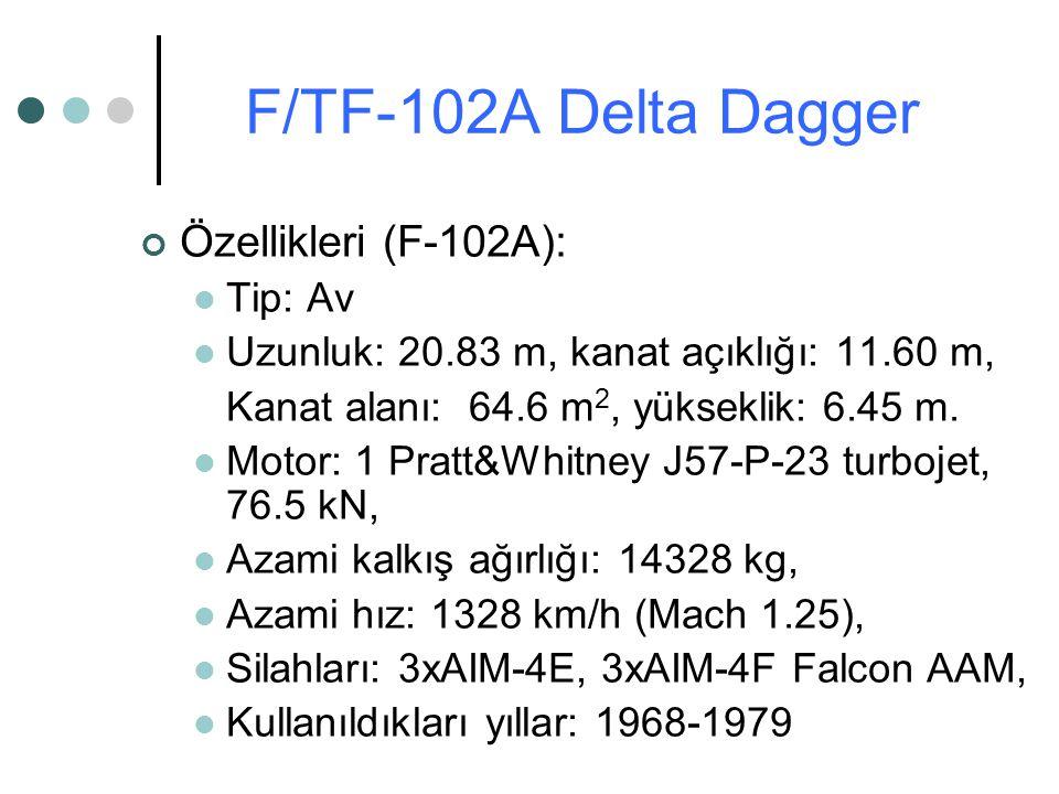 Özellikleri (F-102A): Tip: Av Uzunluk: 20.83 m, kanat açıklığı: 11.60 m, Kanat alanı: 64.6 m 2, yükseklik: 6.45 m. Motor: 1 Pratt&Whitney J57-P-23 tur