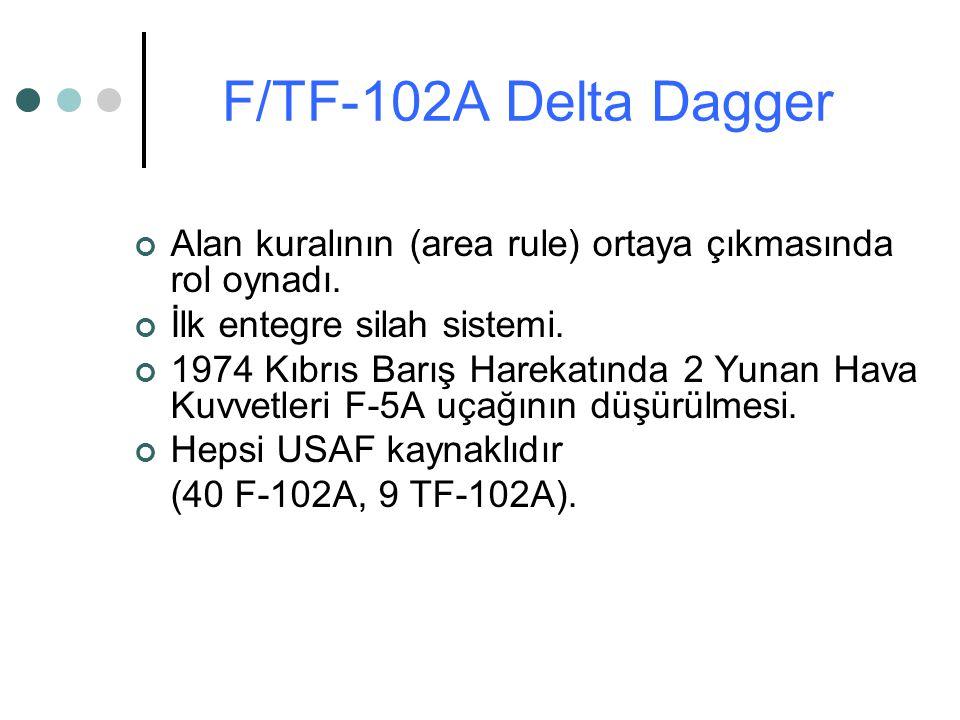 Alan kuralının (area rule) ortaya çıkmasında rol oynadı. İlk entegre silah sistemi. 1974 Kıbrıs Barış Harekatında 2 Yunan Hava Kuvvetleri F-5A uçağını