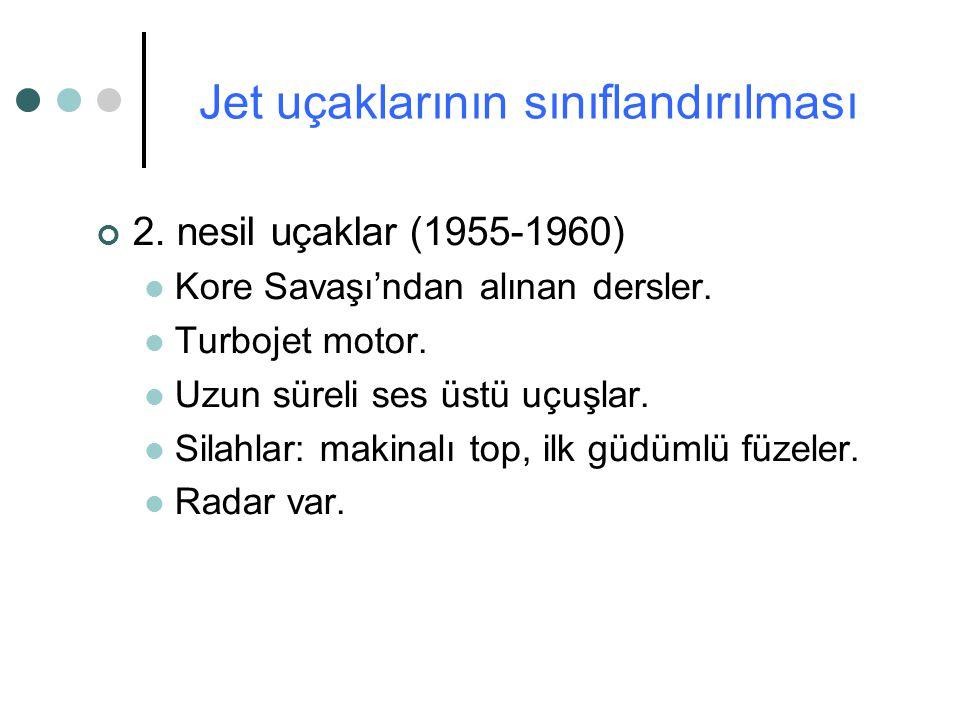 2. nesil uçaklar (1955-1960) Kore Savaşı'ndan alınan dersler. Turbojet motor. Uzun süreli ses üstü uçuşlar. Silahlar: makinalı top, ilk güdümlü füzele