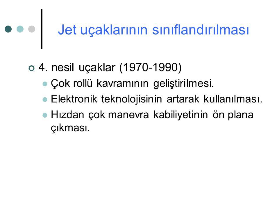 4. nesil uçaklar (1970-1990) Çok rollü kavramının geliştirilmesi. Elektronik teknolojisinin artarak kullanılması. Hızdan çok manevra kabiliyetinin ön