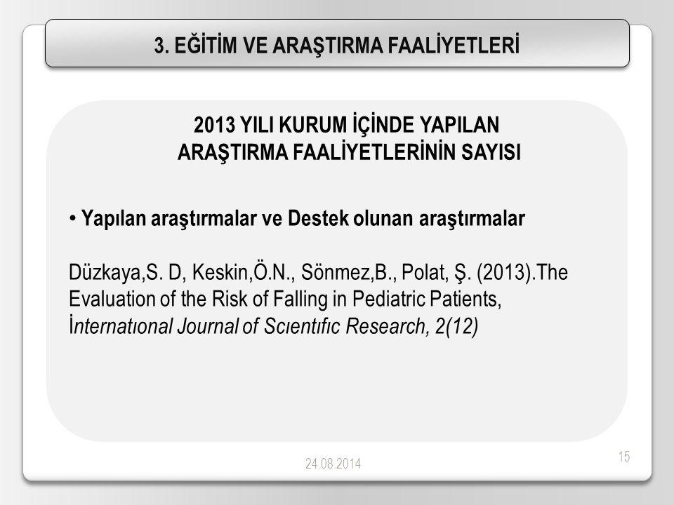 24.08.2014 15 Yapılan araştırmalar ve Destek olunan araştırmalar Düzkaya,S. D, Keskin,Ö.N., Sönmez,B., Polat, Ş. (2013).The Evaluation of the Risk of