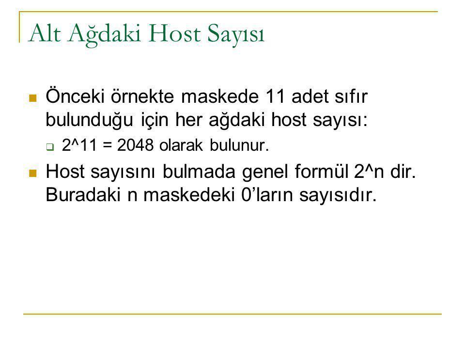 Alt Ağdaki Host Sayısı Önceki örnekte maskede 11 adet sıfır bulunduğu için her ağdaki host sayısı:  2^11 = 2048 olarak bulunur. Host sayısını bulmada