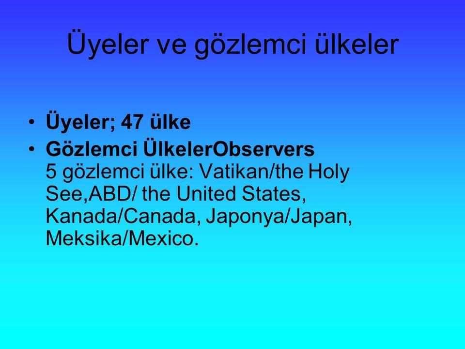 Üyeler ve gözlemci ülkeler Üyeler; 47 ülke Gözlemci ÜlkelerObservers 5 gözlemci ülke: Vatikan/the Holy See,ABD/ the United States, Kanada/Canada, Japonya/Japan, Meksika/Mexico.