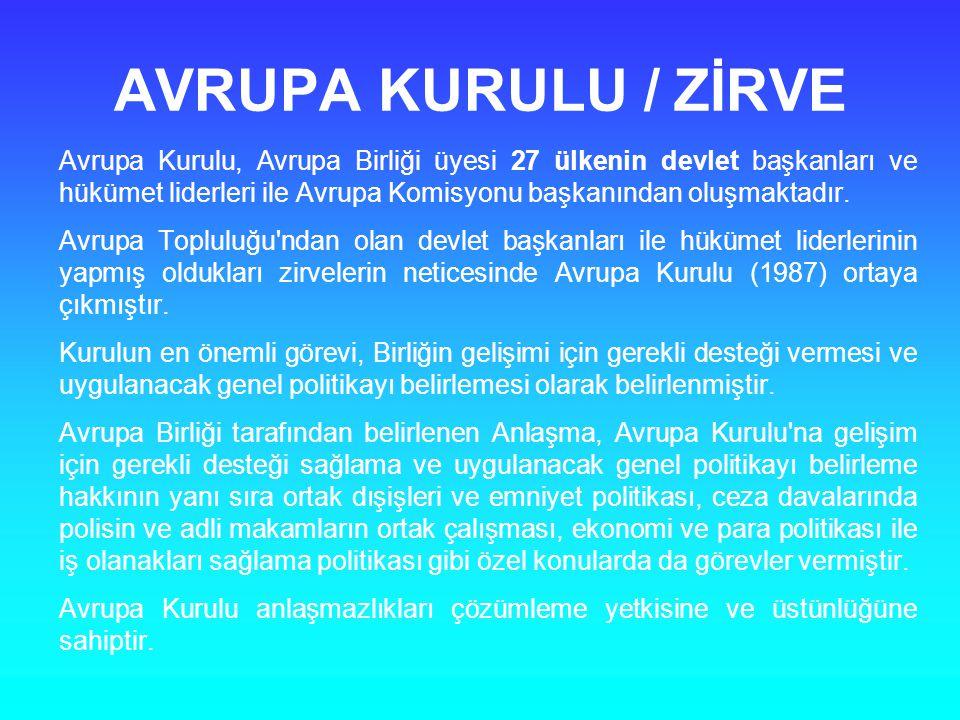 AVRUPA KURULU / ZİRVE Avrupa Kurulu, Avrupa Birliği üyesi 27 ülkenin devlet başkanları ve hükümet liderleri ile Avrupa Komisyonu başkanından oluşmakta