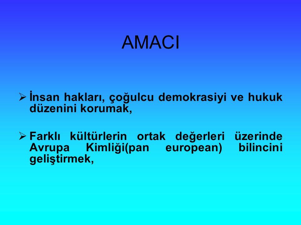 AMACI  İnsan hakları, çoğulcu demokrasiyi ve hukuk düzenini korumak,  Farklı kültürlerin ortak değerleri üzerinde Avrupa Kimliği(pan european) bilincini geliştirmek,