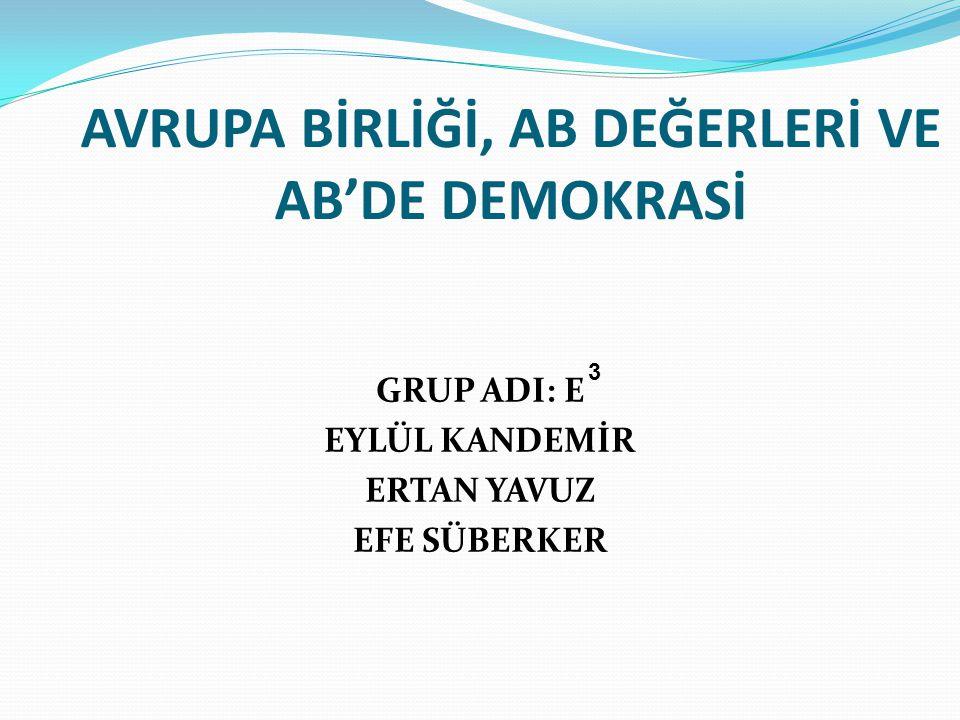 AB'DE DEMOKRASİ Kopenhag Kriterleri Bağlamında Demokrasi Genişleme Sürecinde Demokrasi →Doğu Avrupa ülkelerini kapsayan süreç.