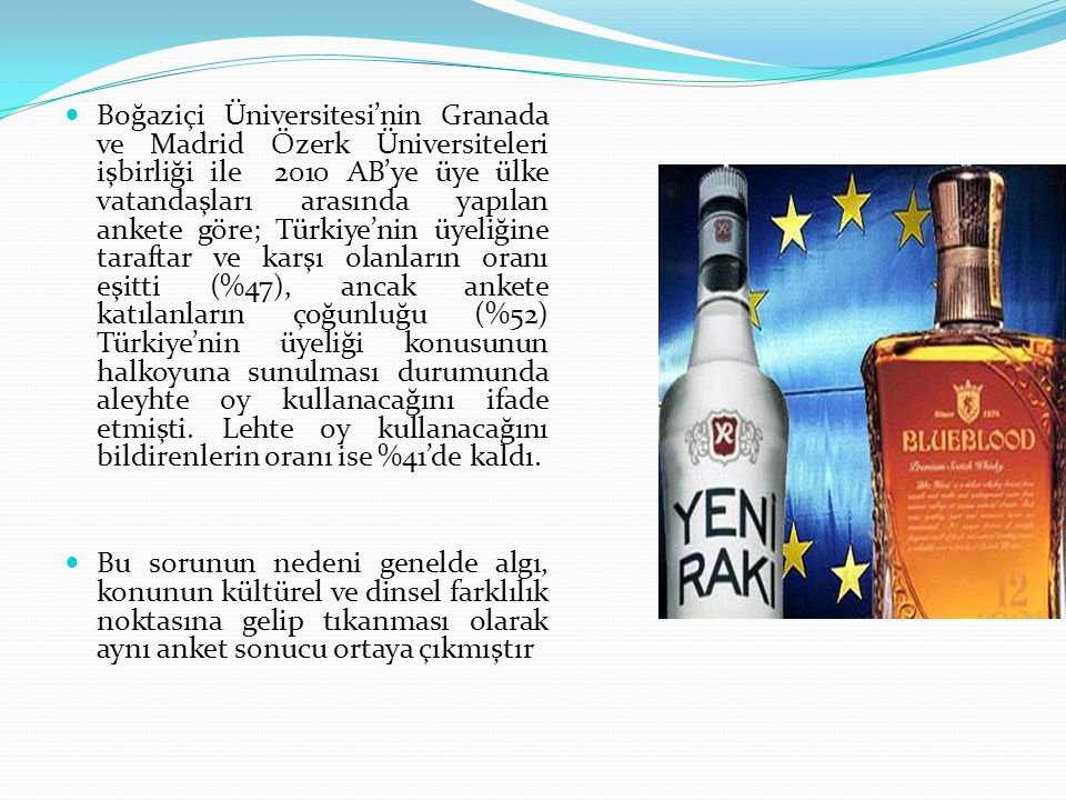 Boğaziçi Üniversitesi'nin Granada ve Madrid Özerk Üniversiteleri işbirliği ile 2010 AB'ye üye ülke vatandaşları arasında yapılan ankete göre; Türkiye'