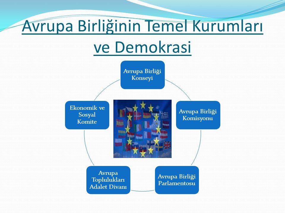 Avrupa Birliğinin Temel Kurumları ve Demokrasi Avrupa Birliği Konseyi Avrupa Birliği Komisyonu Avrupa Birliği Parlamentosu Avrupa Toplulukları Adalet