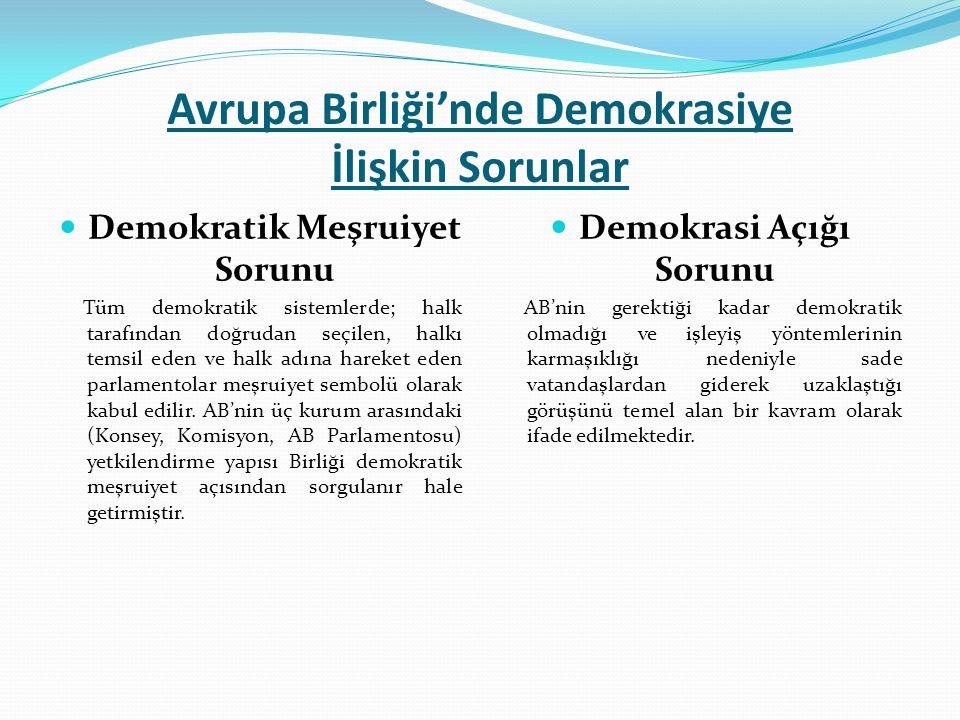 Avrupa Birliği'nde Demokrasiye İlişkin Sorunlar Demokratik Meşruiyet Sorunu Tüm demokratik sistemlerde; halk tarafından doğrudan seçilen, halkı temsil