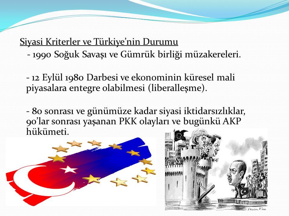 Siyasi Kriterler ve Türkiye'nin Durumu - 1990 Soğuk Savaşı ve Gümrük birliği müzakereleri. - 12 Eylül 1980 Darbesi ve ekonominin küresel mali piyasala